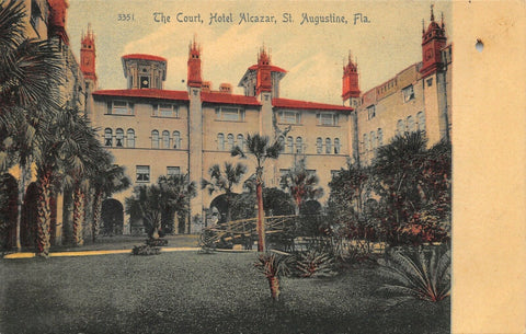 St Augustine Florida~Hotel Alcazar~ Court Yard Interior~Rustic Foot Bridge~c1905
