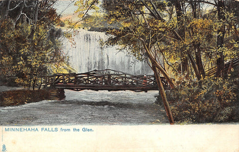 Minneapolis Minnesota~Minnehaha Falls From the Glen~Rustic Bridge~1905 TUCK PC