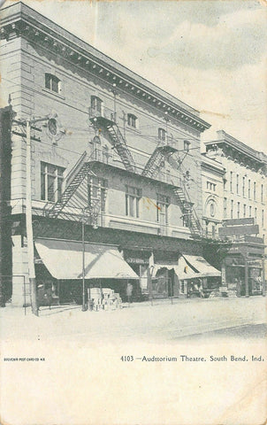 South Bend Indiana~Auditorium Theatre~Fire Escapes~Crates on Sidewalk~1908 B&W
