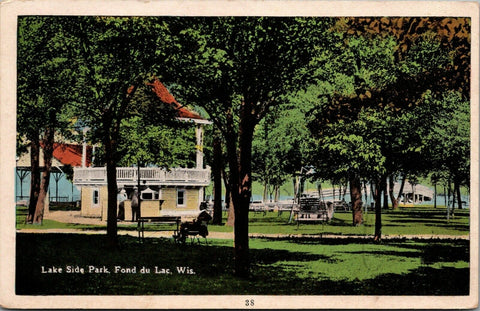 Fond Du Lac Wisconsin~Big Bandstand~Pavilion & Adult Swing @ Lake Side Park 1915