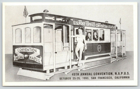 San Francisco~Bathing Beauty on Trolley~Postmasters Association Convention~1953 | Refried Jeans Postcards