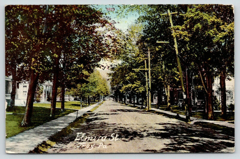 Troy Pennsylvania~Elmira Street Homes~Leaning Telephone Pole~Dirt Road~1911 | Refried Jeans Postcards