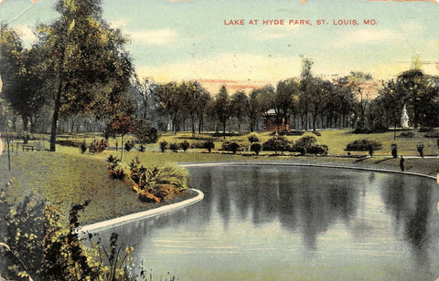 St Louis Missouri~Hyde Park Lake~Gazebo & Monument on Hill~1910 Postcard