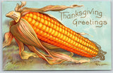 Thanksgiving~Exaggerated Ear of Corn on Cob~Blue Sky~Gold Leaf Emboss~IPCC 1909