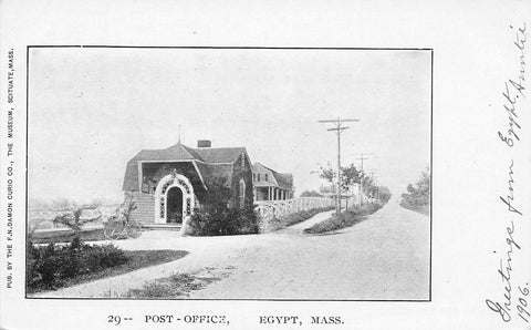 Egypt Massachusetts~Bicycle at Post Office~Fence Down Sidewalk to House~1906 B&W
