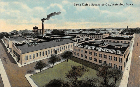 Waterloo Iowa Dairy Separator Company~Smokestack Blowing~Water Tower c1910 | Refried Jeans Postcards