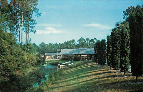 Waycross Georgia~Okefenokee Swamp Park~Boat~Shelter House~1950s | Refried Jeans Postcards