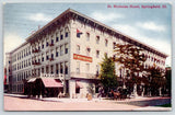 Springfield IL~St Nicholas Hotel~Sandwich Sign~Guests in Chairs~Horse Buggy~1909
