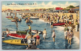 Wrightsville Beach NC~Motor Speed Boat Races~Crowd Gathered~Cottages~1940s Linen