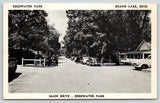 Celina Grand Lake Ohio~Edgewater Park Main Drive Cottages~Cars Parked~1940s B&W