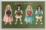 Birthday Girls~Pink & Blue~Sailors Two~Flower Baskets~Green Back Emboss~Germany