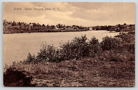 Ulster Heights Lake New York~View Across Lake~Houses on Shore~c1910 Postcard