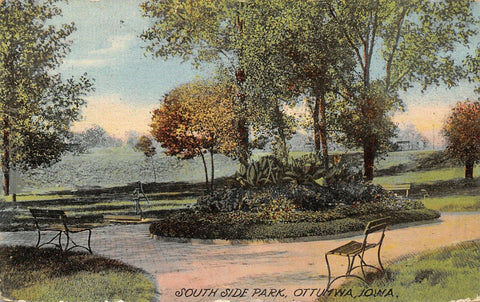 Ottumwa Iowa~Alternating Brick Path~South Side Park~Little Benches 1913 Postcard | Refried Jeans Postcards