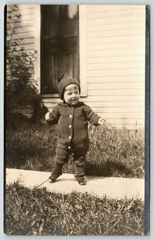 Strawberry Point Iowa~Victorian Toddler Boy in Sweater Suit~J Accola c1912 RPPC