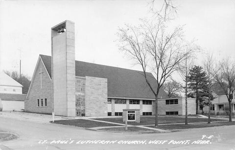 West Point Nebraska~Modern Architecture of St Paul's Lutheran Church~RPPC c1950
