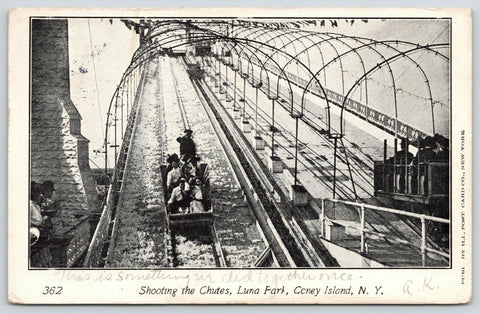 New York City~Coney Island~Luna Park~Shooting Chutes~Ladies Hang on to Hats~1904