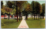 Van Wert Ohio~City Park Sidewalk~3 Tier Fountain~Collier Optician Adv~c1910 PC