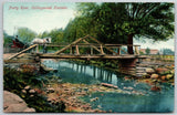 Collingwood ON Horse & Buggy Crossing Pretty River Over Rustic Bridge~c1910 PC