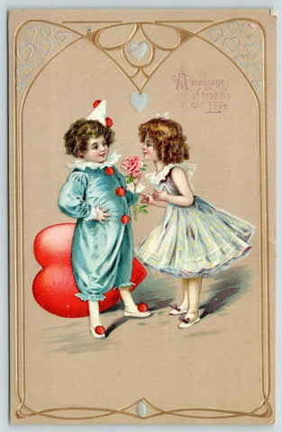 Valentine~Boy Clown~Red Poms~Rose to Ballerina~Tan Gold Art Nouveau~Germany 1911