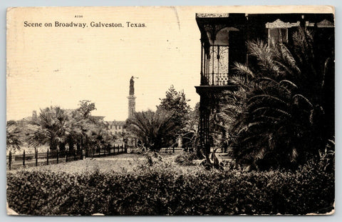 Galveston Texas~Broadway & Rosenburg~1836 Heroes Monument~Close Up Home~1911