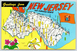 New Jersey~State Highway Map Postcard~Sussex to Tuckahoe~Erma to Glendora 1950s