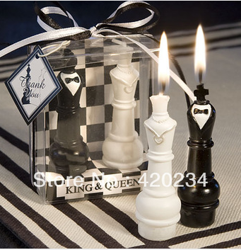 centerpieces wedding accessories party wedding giveaway gifts wedding supplies, King & Queen Chess Piece Candle Favors