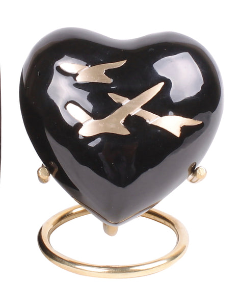 black flying birds heart keepsake urn, black heart, Free delivery urn quick delivery urn affordable price urn best quality urn Funeral memorial remembrance human ashes container mini adult child pet ashes urn teardrop brass large medium small urn