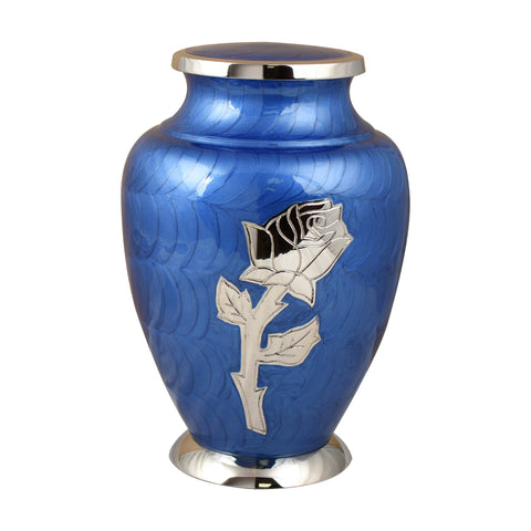 Blue urn for ashes, rose ashes urn, flower urn, Free delivery urn quick delivery urn affordable price urn best quality urn Funeral memorial remembrance human ashes container mini adult child pet ashes urn teardrop brass large medium small urn