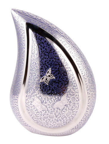 teardrop urn, teardrop ashes urn, purplish blue teardrop, purple teardrop urn, blue teardrop urn, teardrop urn for ashes, teardrop, black teardrop, silver teardrop urn, large teardrop urn, adult ashes urn, urn, child urn, baby urn, teenager ashes urn, adult ashes urn