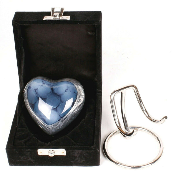 blue heart keepsake , blue clouded heart, blue token heart urn, blue heart with stand and box, decorative small urn, free delivery urn, quick delivery urn, best quality urn, affordably price keepsake urn, pet ashes urn, baby urn, child urn , part ashes urn, urn to keep small amount of ashes