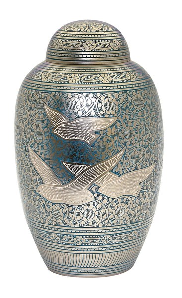 Blue flying birds urn, blue urn, blue going home ashes urn, human ashes container , cremation urn for ashes , urn for ashes , container for ashes, ashes storage jar, human ashes container, large urn , british urn, adult ashes urn, cremation urn for human ashes, funeral memorial burial remembrance URN, affordable price urn, metal urn, blue urn, free delivery urn, quick delivery urn
