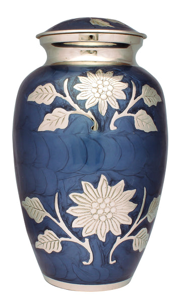 Funeral memorial remembrance Blue Urn, flower urn, human ashes container , freed delivery , quick delivery