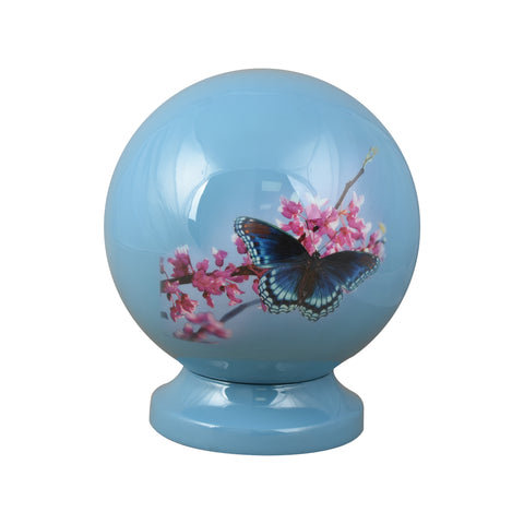 sky blue cremation urn for ashes , blue butterfly globe urn, globe ashes urn, round ashes urn, butterfly cremation urn, round urn, blue globe ashes urn, round cremation urn for ashes , urn for ashes , container for ashes, ashes storage jar, human ashes container, large urn , british urn, adult ashes urn, cremation urn for human ashes, funeral memorial burial remembrance URN, affordable price urn, metal urn