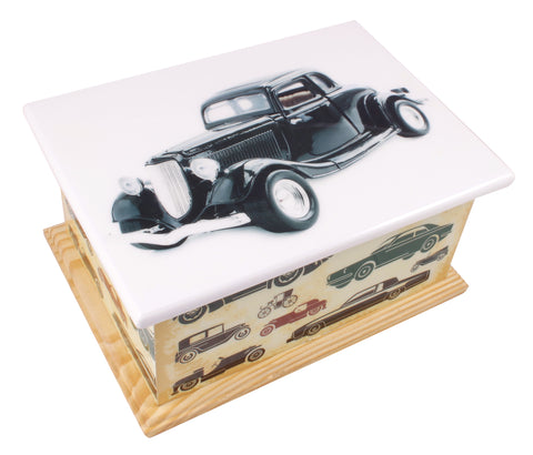 Vintage car wooden casket, wooden urn, wooden casket , extra large urn, ashes urn, free delivery urn, best price urn, affordable price urn, best quality urn