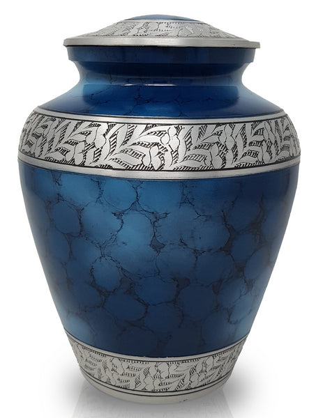 blue clouded aluminium cremation urn for ashes, large urn, adult urn, urn for ashes, blue urn , urn for him, cheap urn, best quality urn, free delivery urn, affordably price urn