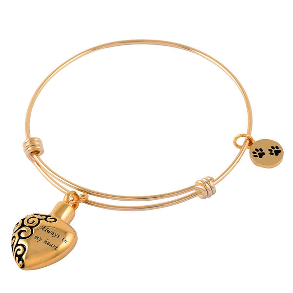 Gold Bracelet with Heart Ashes Pendant