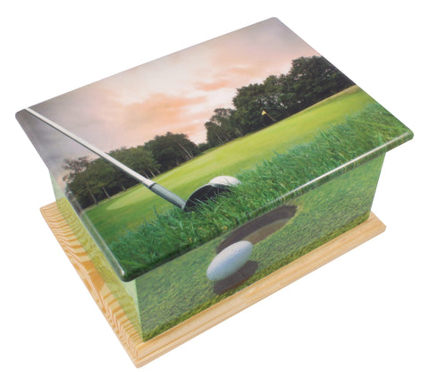 Golf wooden casket, wooden urn, wooden casket , extra large urn, ashes urn, free delivery urn, best price urn, affordable price urn, best quality urn