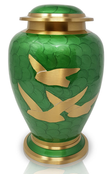 green urn, flying birds urn, adult urn, metal urn, cremation urn for ashes , urn for ashes , container for ashes, ashes storage jar, human ashes container, large urn , british urn, adult ashes urn, cremation urn for human ashes, funeral memorial burial remembrance URN, affordable price urn, metal urn, white urn, free delivery urn, quick delivery urn flying birds design urn, hand made urn,