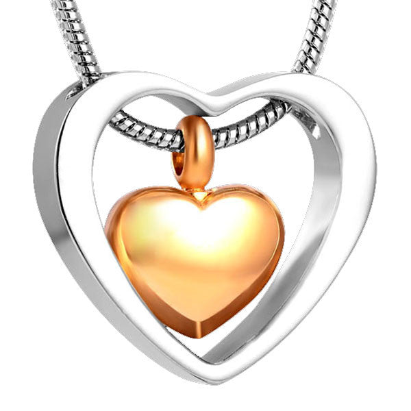 Silver Gold Heart Ashes Pendant