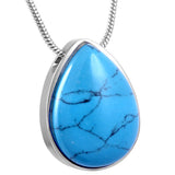 Cremation memorial jewellery blue drop ashes pendant necklace keepsake mini urn