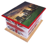 container for ashes, ashes container, large wood casket urn , Stonehenge casket , Stonehenge urn, British flag urn, adult ashes urn, cremation urn for human ashes, funeral memorial burial remembrance URN