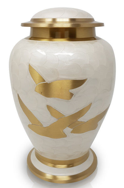 pearl white urn, metal urn, cremation urn for ashes , urn for ashes , container for ashes, ashes storage jar, human ashes container, large urn , british urn, adult ashes urn, cremation urn for human ashes, funeral memorial burial remembrance URN, affordable price urn, metal urn, white urn, free delivery urn, quick delivery urn flying birds design urn, hand made urn,