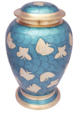 turquoise blue cremation urn, blue butterfly cremation urn for ashes, butterfly cremation urn, good quality urn, free delivery urn, fastest delivery urn