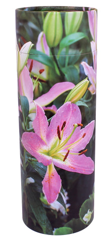 Pink Lillies scatter tube, Lily scatter tube, biodegradable ashes urn, eco friendly ashes urn, large, scatter tube, medium scatter tube, small scattering urn, child scatter ashes, pet ashes scatter urn, adult scatter urn, cardboard ashes urn, scattering urn, urn for scattering ashes , transferring ashes on plane, free delivery urn, finest quality urn,  quick delivery , water burial urn, land burial urn