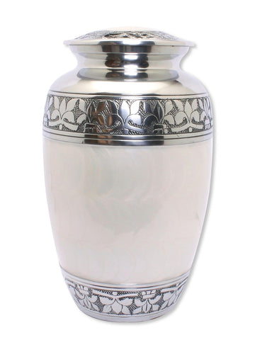 pearl white adult cremation urn for ashes , large cremation urn, white urn, large ashes container