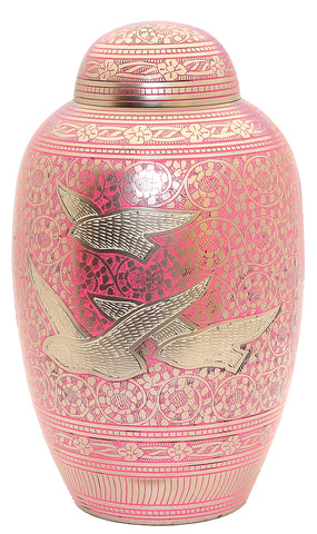 pink urn going home urn flying birds urn large cremation urn urn for her
