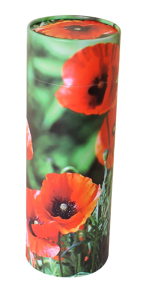 poppy scatter tube, scatter tube, biodegradable ashes urn, eco friendly ashes urn, large, scatter tube, medium scatter tube, small scattering urn, child scatter ashes, pet ashes scatter urn, adult scatter urn, cardboard ashes urn, scattering urn, urn for scattering ashes , transferring ashes on plane, free delivery urn, finest quality urn,  quick delivery , water burial urn, land burial urn