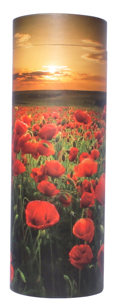 poppy sunset scatter tube, poppy scatter tube, sunset scatter urn, flowers scatter urn, biodegradable ashes urn, eco friendly ashes urn, large, scatter tube, medium scatter tube, small scattering urn, child scatter ashes, pet ashes scatter urn, adult scatter urn, cardboard ashes urn, scattering urn, urn for scattering ashes , transferring ashes on plane, free delivery urn, finest quality urn,  quick delivery , water burial urn, land burial urn