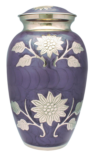 flower urn for ashes, purple ashes urn purple cremation urn for ashes , purple urn for ashes , container for ashes, ashes storage jar, human ashes container, large urn , british urn, adult ashes urn, cremation urn for human ashes, funeral memorial burial remembrance URN, affordable price urn, metal urn, white urn, free delivery urn, quick delivery urn