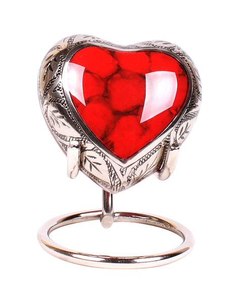 red heart keepsake , red clouded heart, red token heart urn, red heart with stand and box, decorative small urn, free delivery urn, quick delivery urn, best quality urn, affordably price keepsake urn, pet ashes urn, baby urn, child urn , part ashes urn, urn to keep small amount of ashes